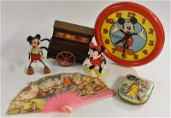 Mickey and Minnie organ grinder, plastic and wood;