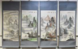 Chinese School 20th century a set of four scroll
