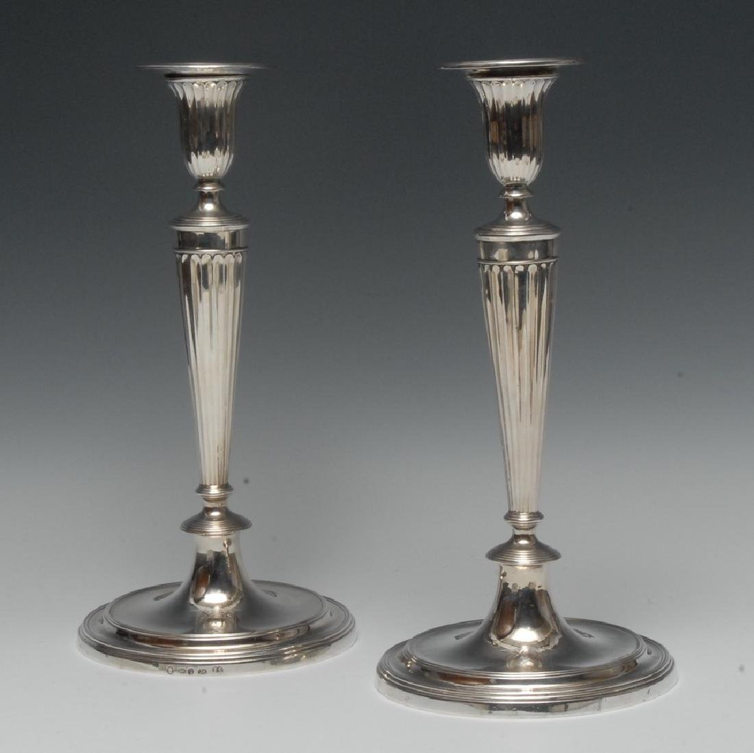 A pair of George III Neo-Classical cast silver table
