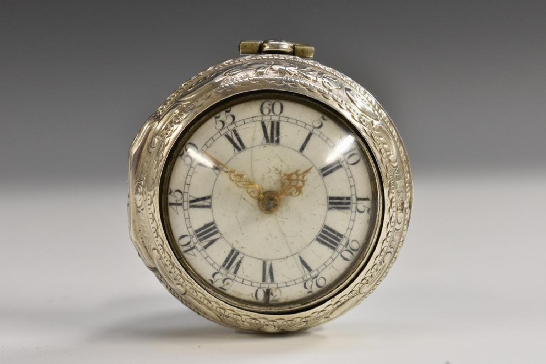 A George III silver-gilt pair cased verge pocket watch,