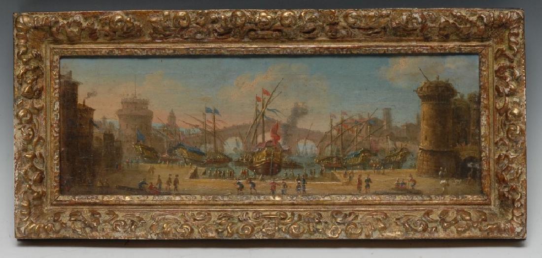 Dutch School (18th century) An Italianate Harbour Scene