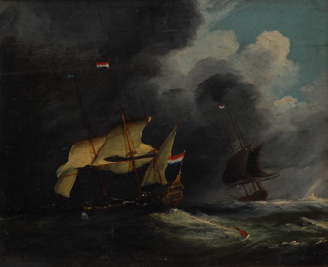 Dutch School (18th century) Schooners on Choppy Seas