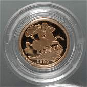 A 1999 12 sovereign proof coin cased with certificate