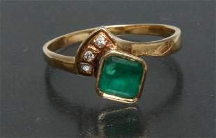 A contemporary design modernist emerald and diamond