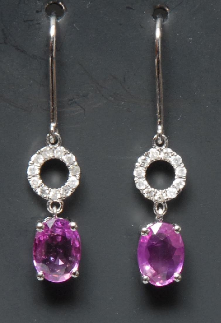 A pair of pink sapphire and diamond drop earrings, each