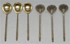 A set of six Russian silver-gilt and niello spoons,