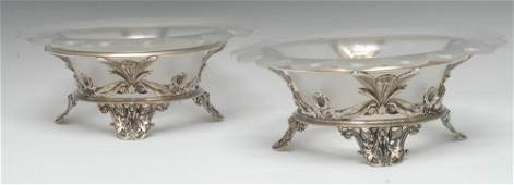 A pair of Victorian silver table centre comports well