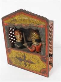 Cast iron Punch & Judy mechanical bank