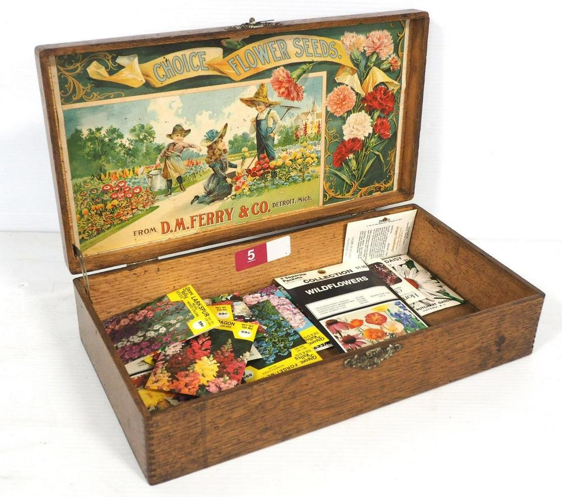 D.M. Ferry Co. wooden seed box
