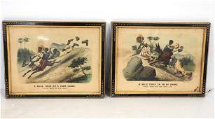 (2) Currier and Ives prints