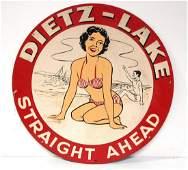 Dietz Lake Straight Ahead sign