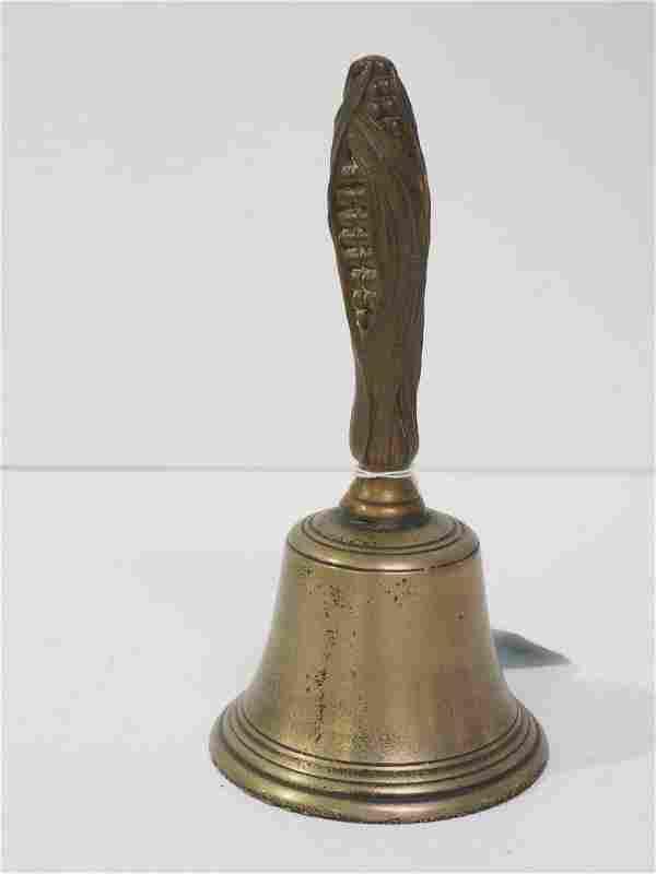 Brass school bell with corn handle