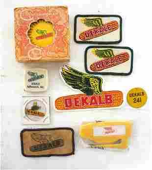 Box of DeKalb advertising items