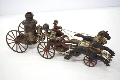 """Ives cast iron 14"""" horse-drawn fire engine"""