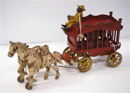 Cast iron horse-drawn circus wagon