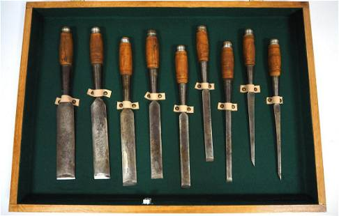 Set of (9) Framing Chisels by P.S. & W