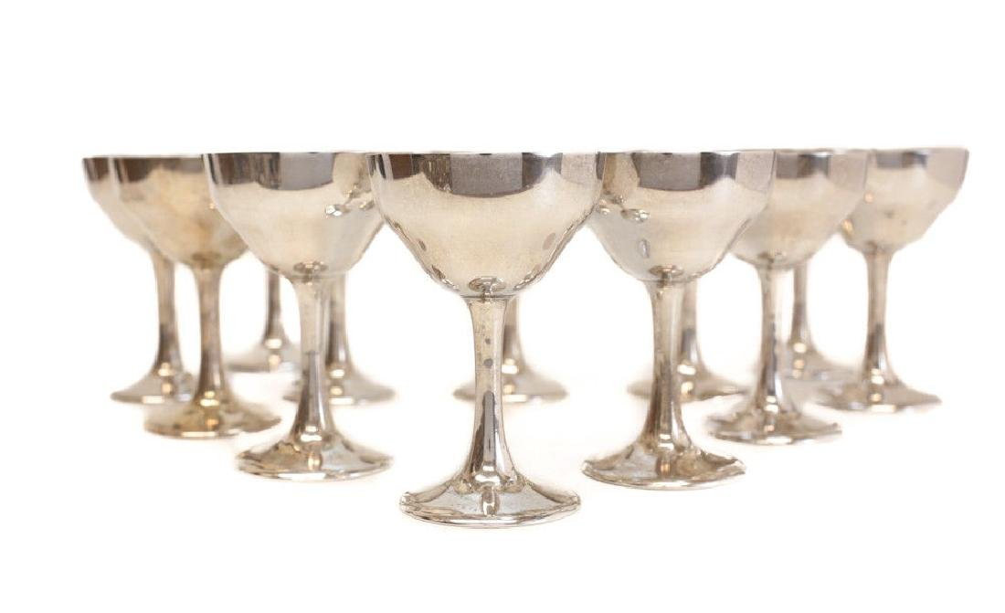 12 Kirk & Son Sterling Silver Sherry Red Wine Goblets