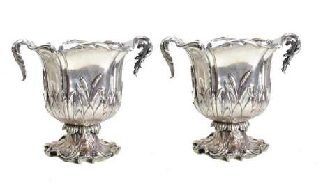Pair Christofle Silver Plate Champagne Coolers