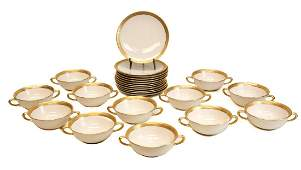 12 Lenox Porcelain Cream Soup & Saucers Gold Encrusted