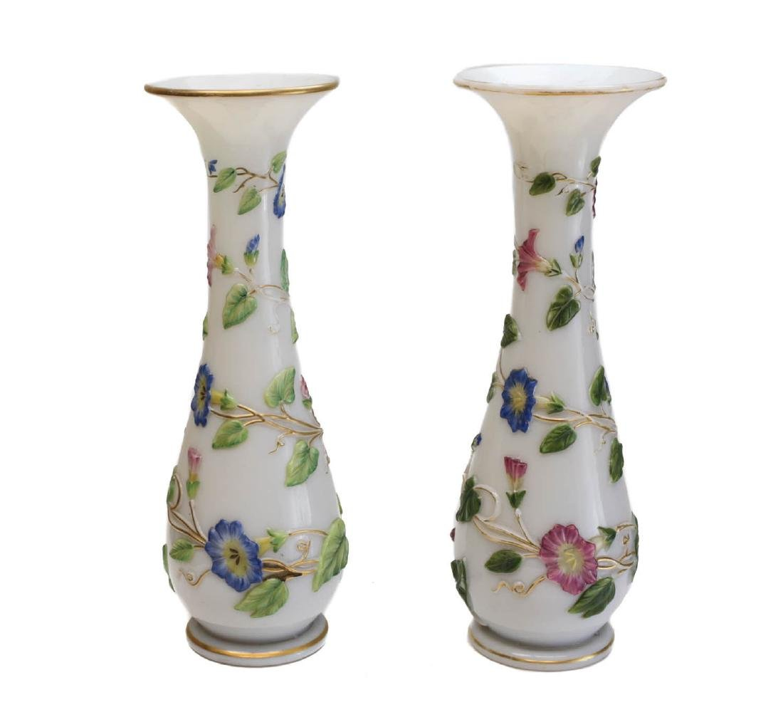 Pair Baccarat French Opaline Enamel Glass Vases