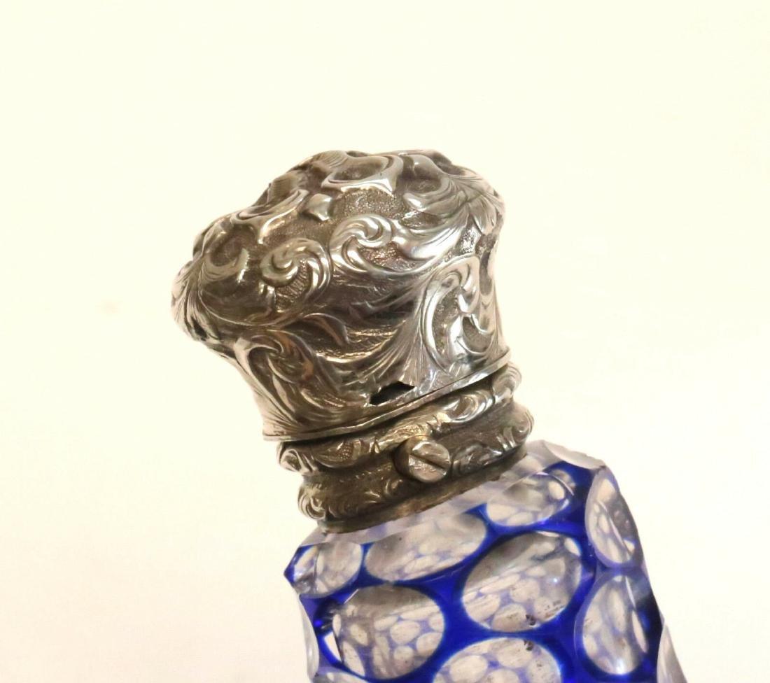Bohemian Silver Cut Glass Blue to Clear Perfume Bottle - 3