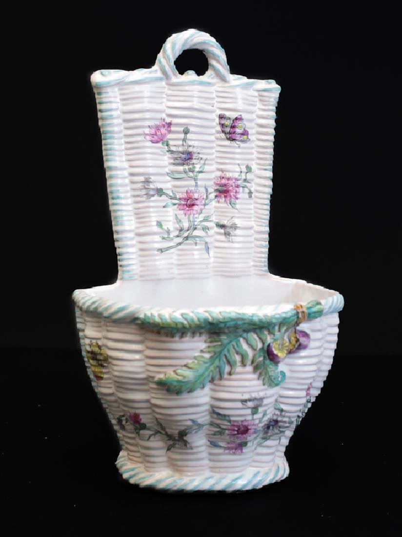 Emile Galle French Faience Wall Hanging Basket, 19th C
