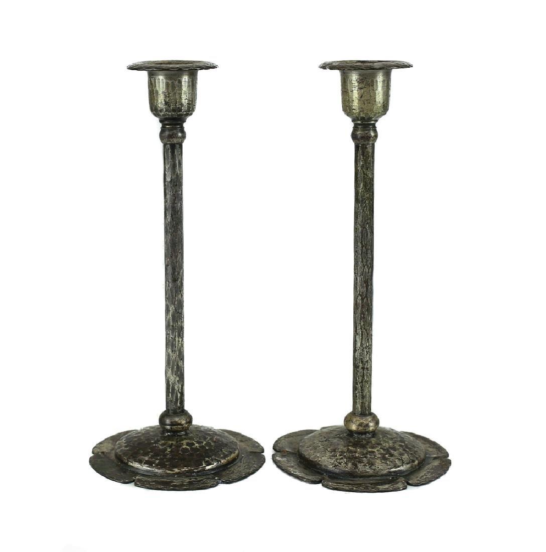 Roycroft Arts & Craft Silverplate Copper Candlesticks