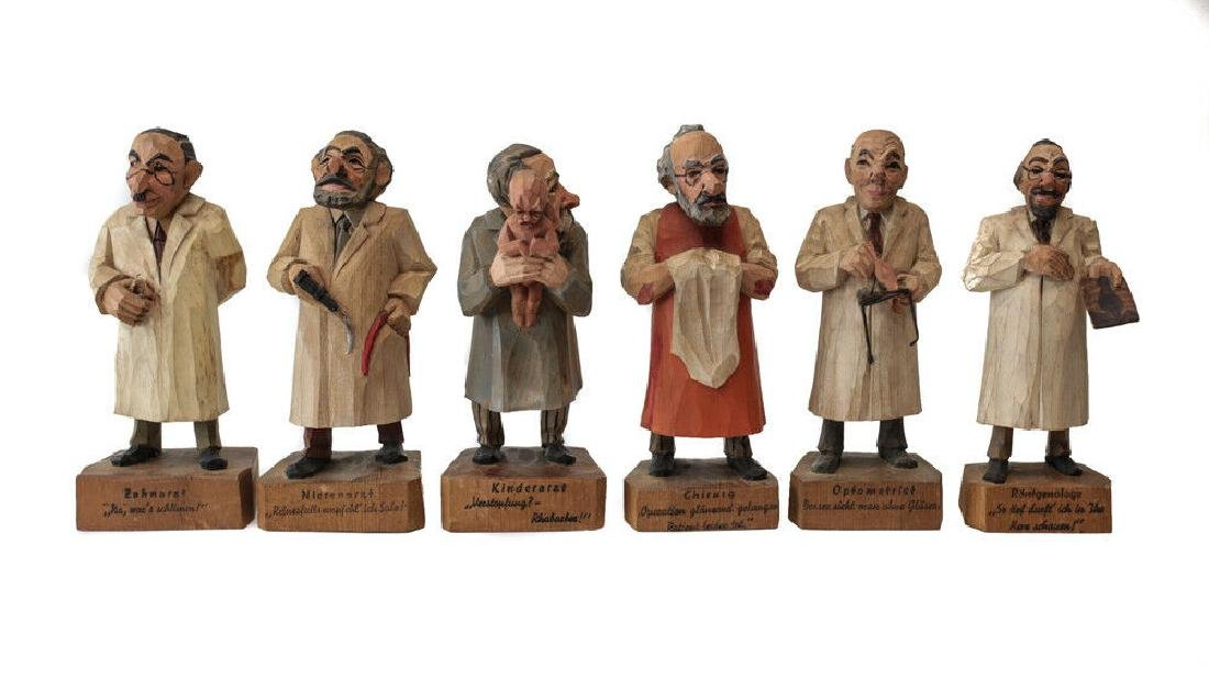 6 Austrian Handcarved & Painted Wood Figurines