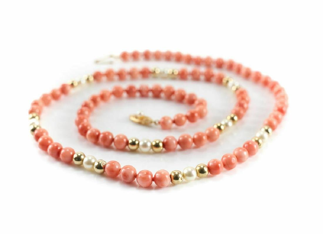 14k Gold Coral & Pearl Single Strand Necklace