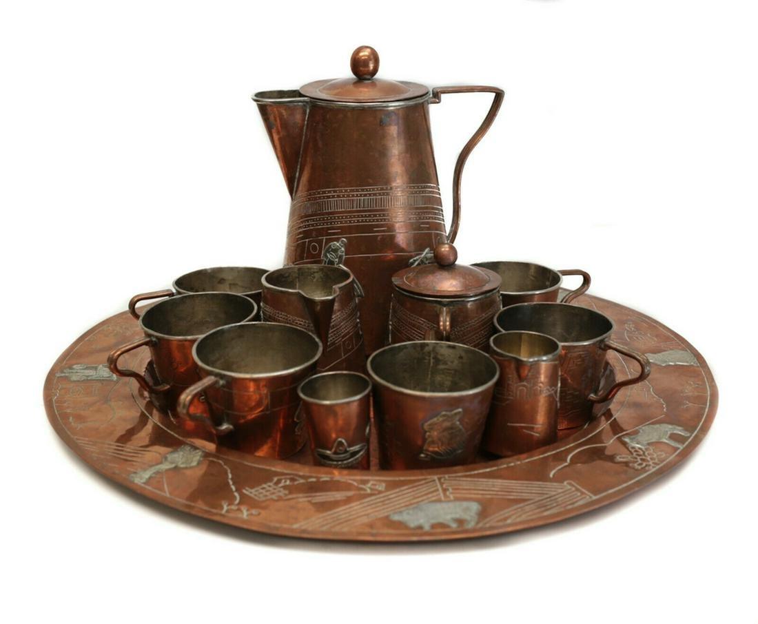 Taxco Mexico Mixed Metal SIlver & Copper Tea Service