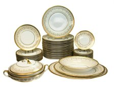 Aynsley Bone Porcelain Service for 12 in Gold Dowery