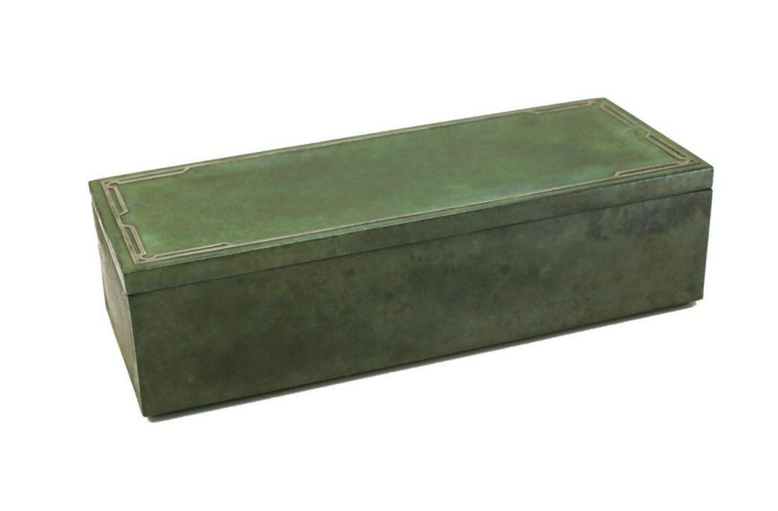 Tiffany Metal and Wood Cigar Box Box Silver Overlay