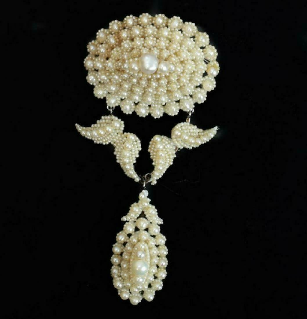 Victorian Natural Seed Pearls Brooch, 19th C