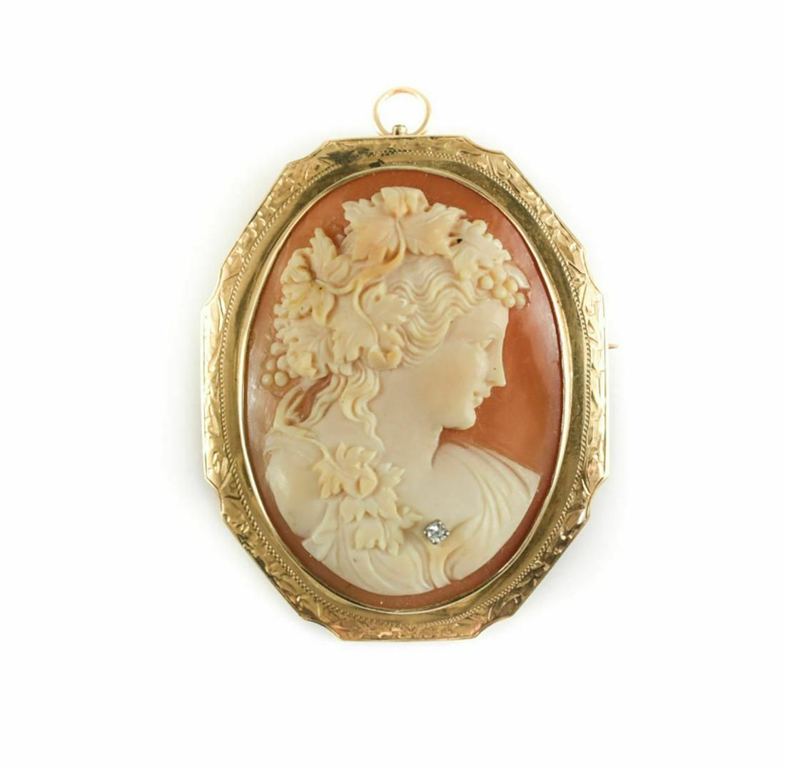 Victorian 14k Gold and Diamond Shell Cameo Pin Brooch