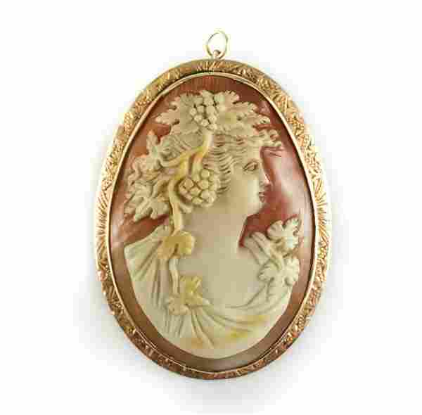 Victorian 14k Gold Shell Cameo Pendent Brooch