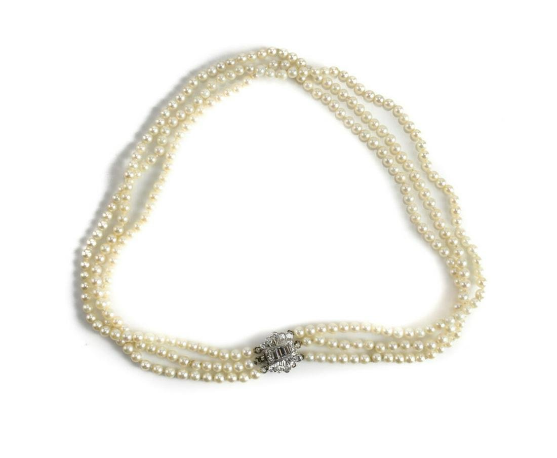 14k Gold Diamond Cultured Pearl Necklace