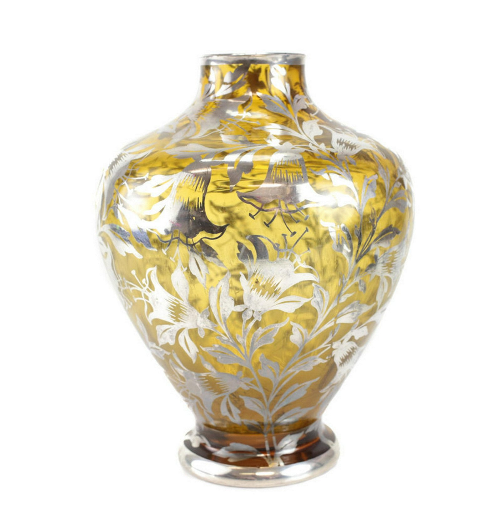 American Sterling Silver  Amber Glass Vase