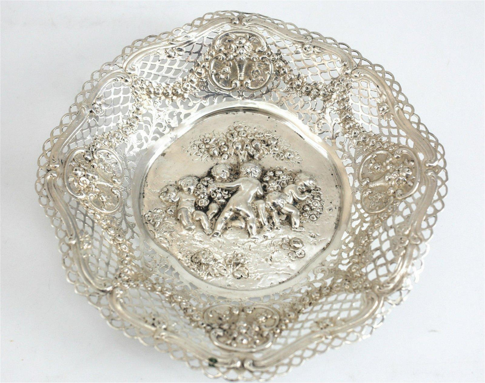 German 800 Silver Octagonal Rim Lobed Putti Bowl