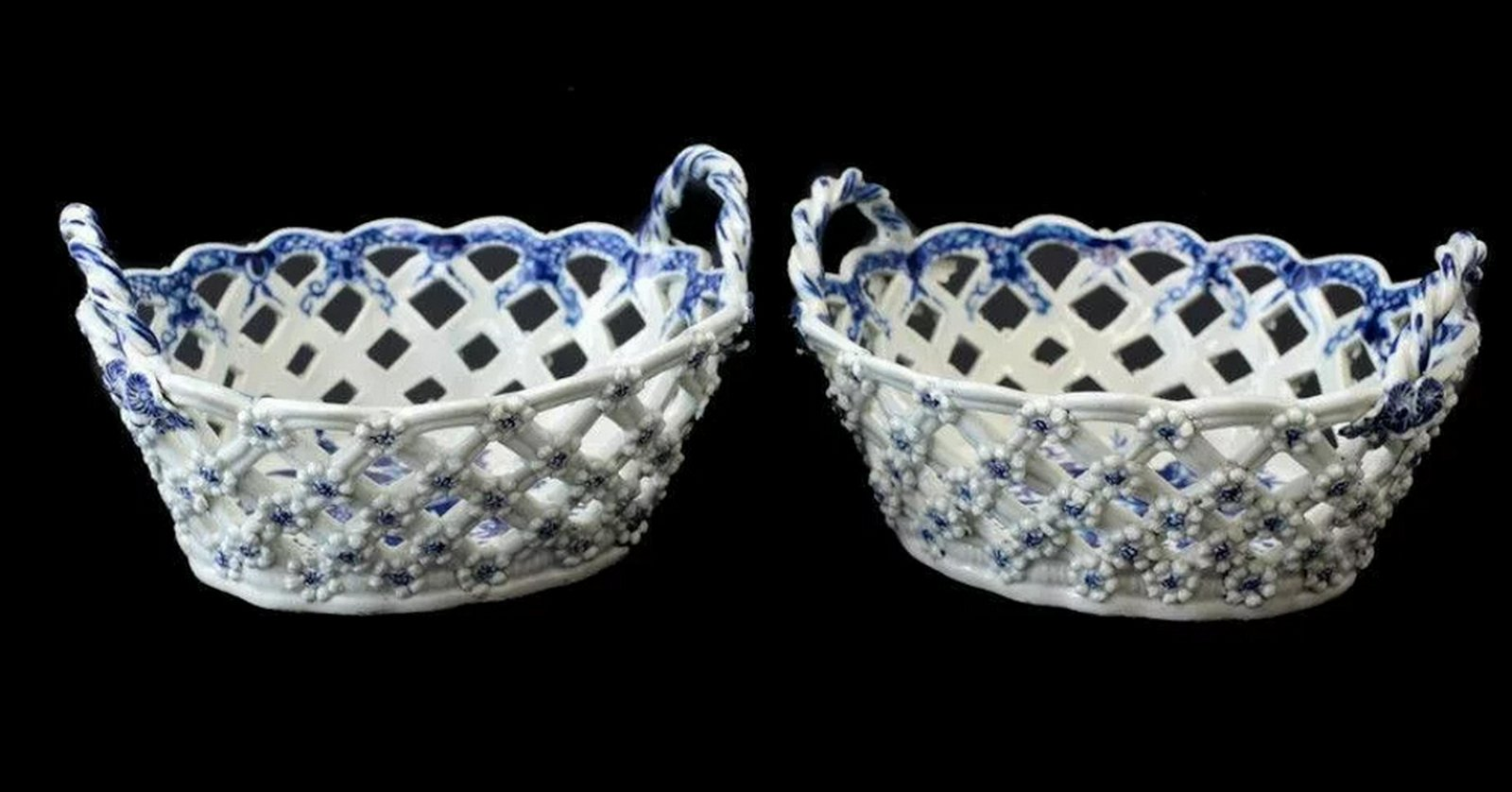 Royal Worcester Dr. Wall Reticulated Baskets, 18th C