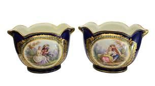Sevres Porcelain Cache Pots, 19th C.