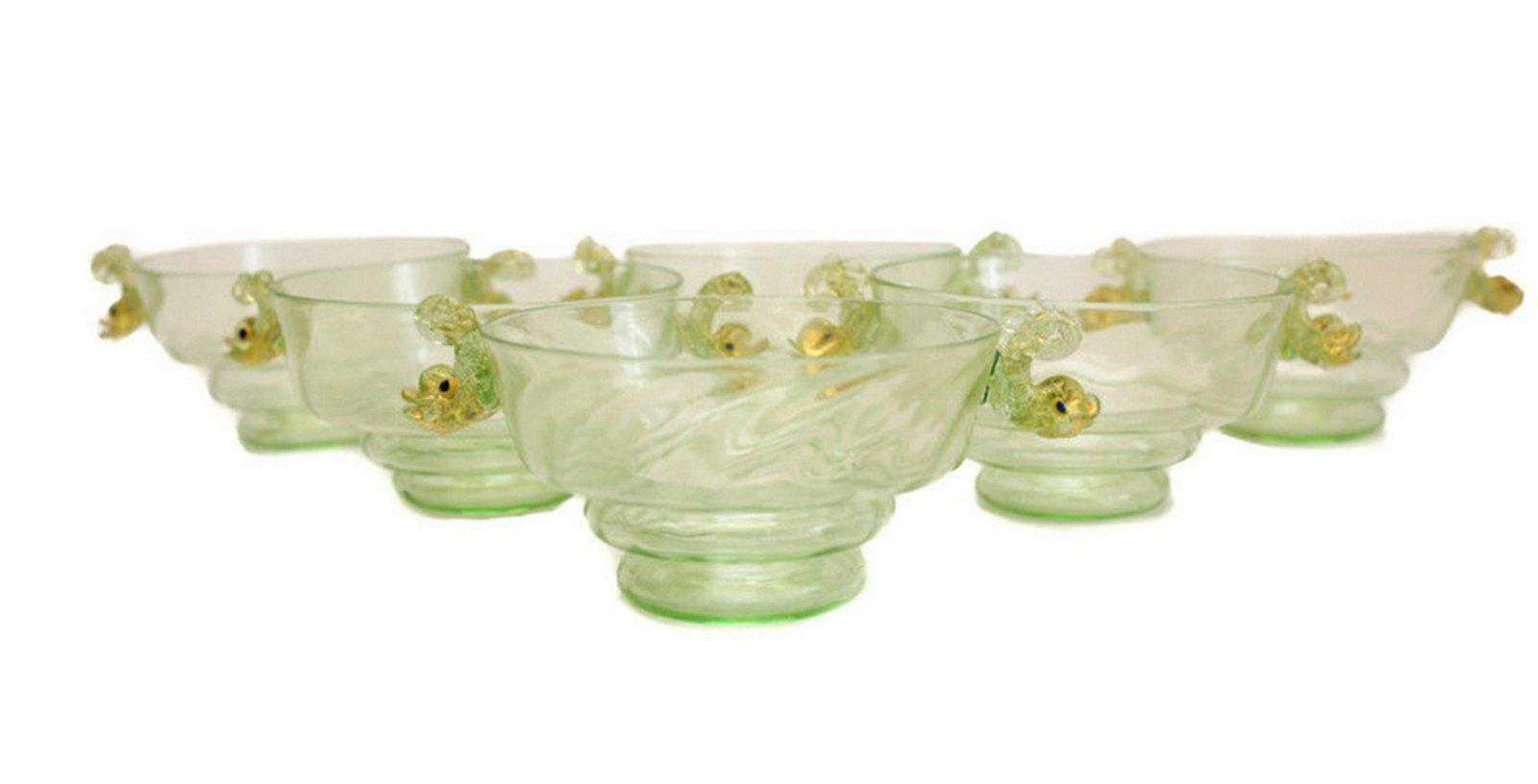 6 Venetian Green Art Glass Bowls