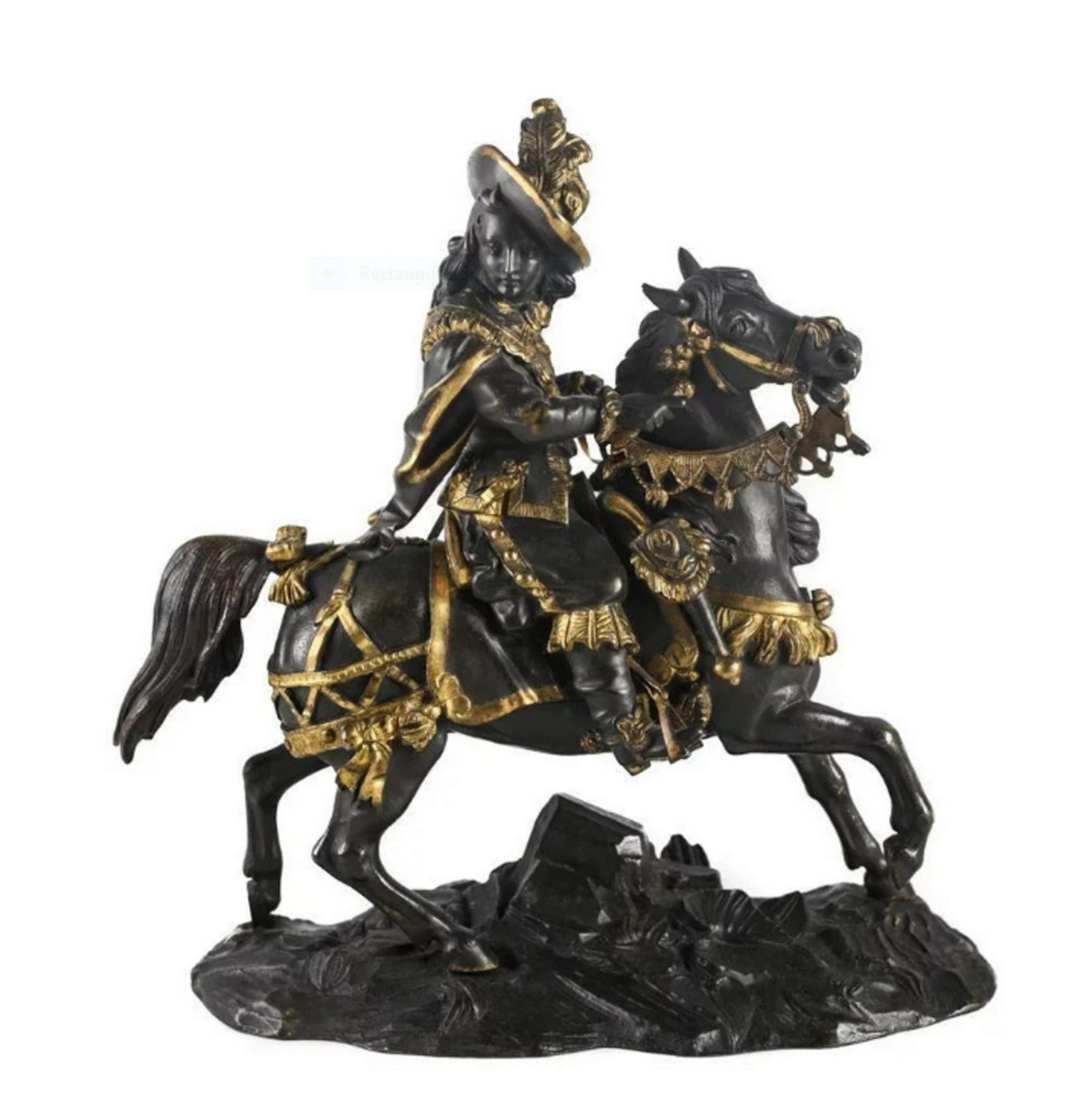 French Bronze Louis XV Equestrian Musketeer Sculpture