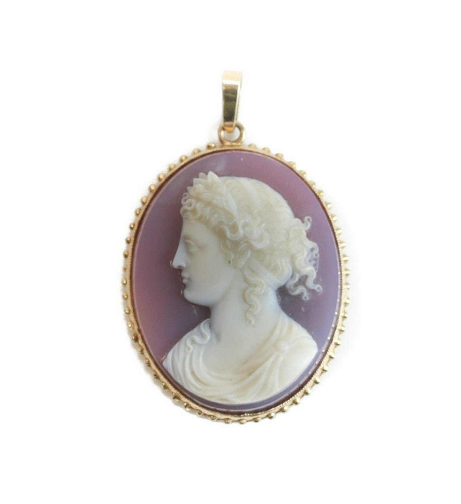 14k Yellow Gold Hand Carved Agate Cameo Pin