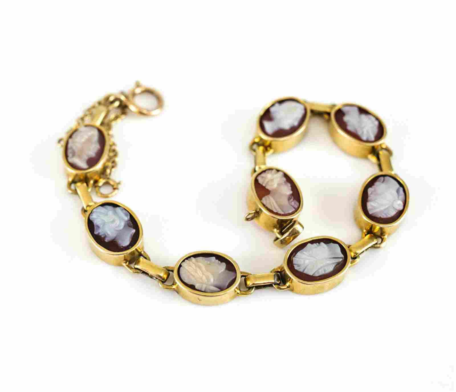 """14k Gold Agate Hardstone Cameo 7"""" Bracelet"""
