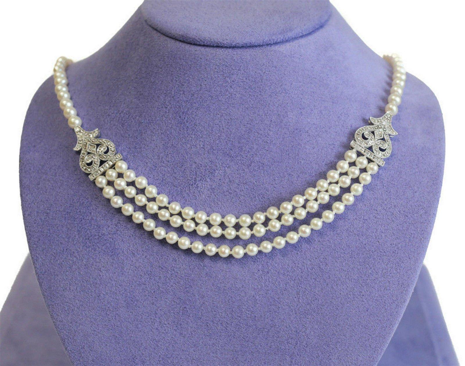 14k White Gold Diamond Cultured Pearl 3 Strand Necklace