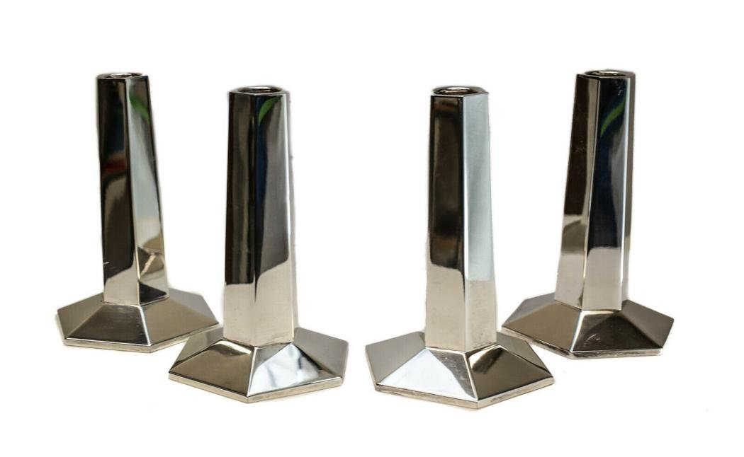 4 Tiffany  F.L. Wright FDN Sterling Silver Candlesticks
