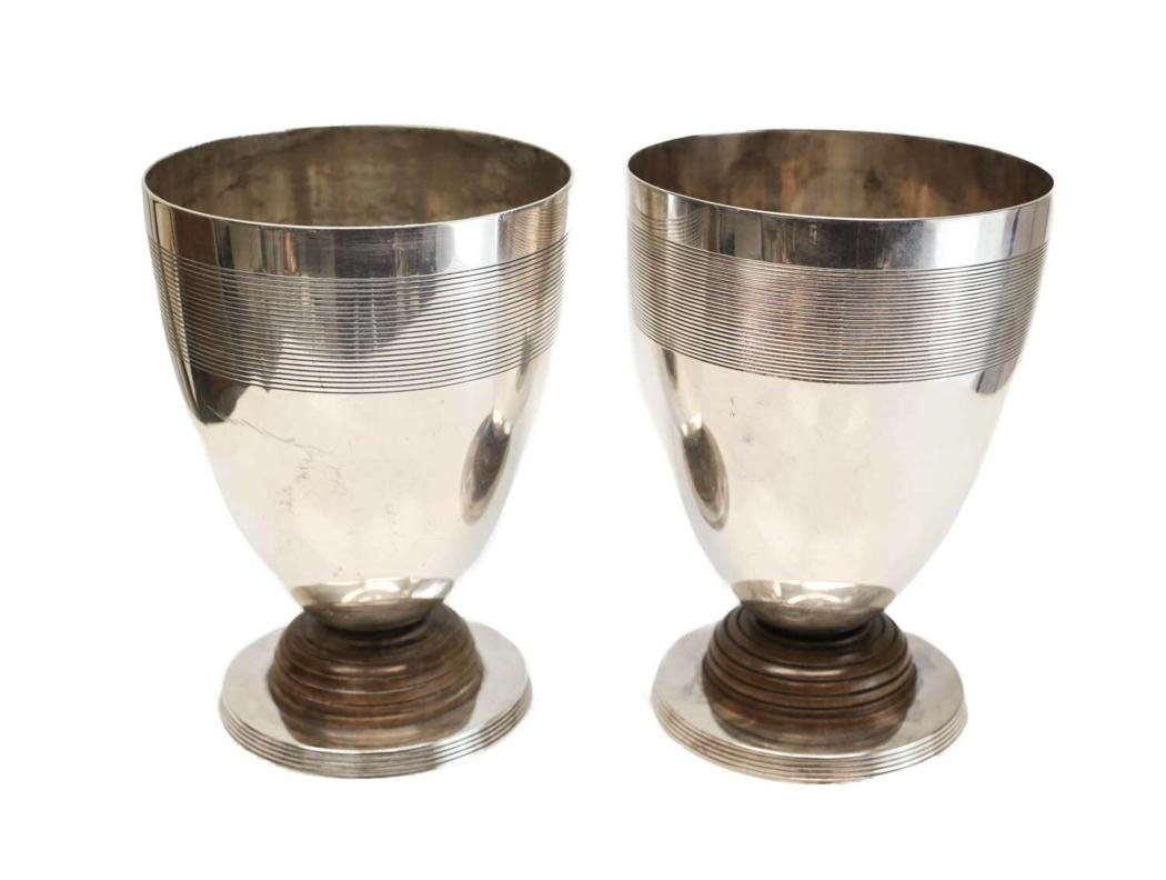 2 Christofle Silverplate Wood Footed Beakers, c1920