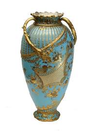 Royal Crown Derby Gilt Enamel Triple Handled Vase