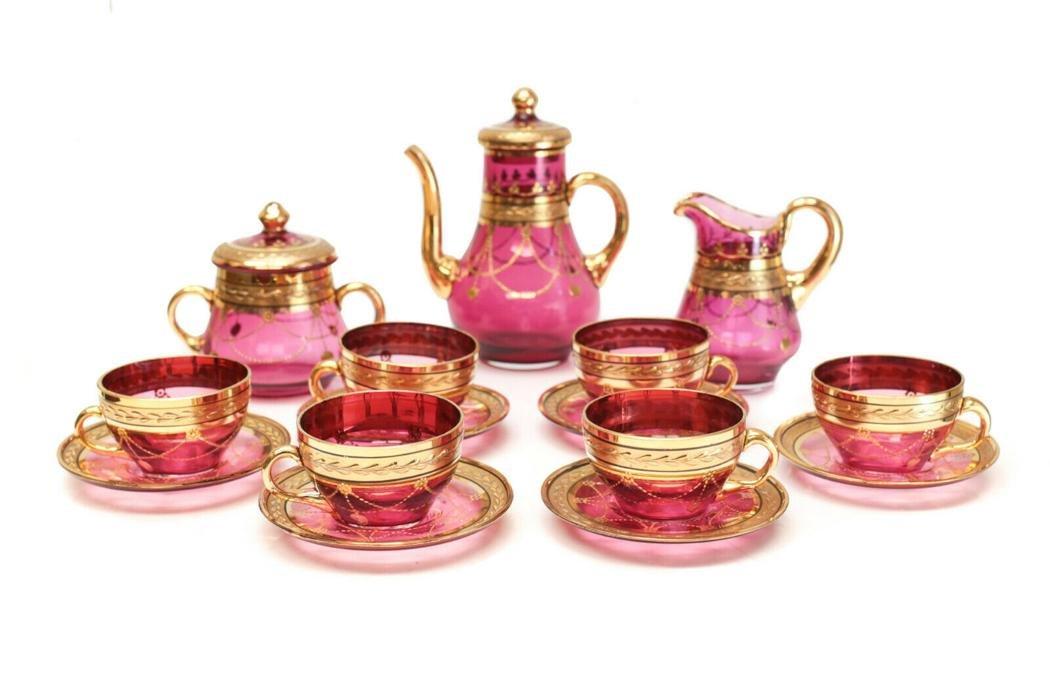 Bohemian Cranberry Red & Gilt Glass Tea Service for 6