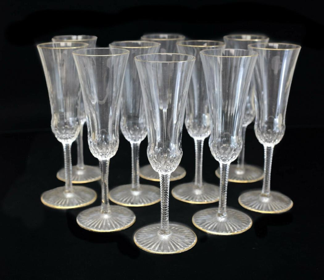 10 Saint Louis Glass Champagne Goblets in Apollo Gold